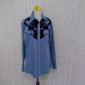 Mens blue and black western embroidered shirt.